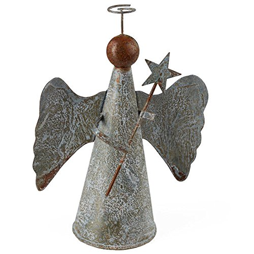 Factory Direct Craft Rustic Tin Angel Tree Topper for Christmas and Home Decor