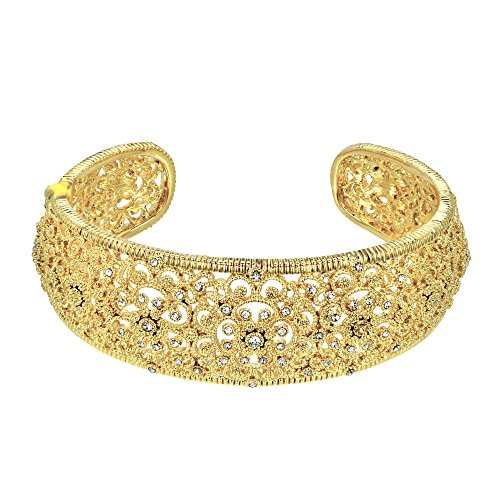 Medallion Style Filigree with Rhinestones Cuff Bangle (Gold Tone) (Silver Medallion Hinges)