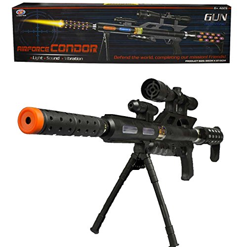 Fun Central AU030, 1 Pc, LED 34 Inch Sniper Rifle with Laser Ray and Shooting Sounds, Light Up Toy Gun, LED Sniper Rifle for Kids, Glow in The Dark Sniper Rifle, Flashing Toy Gun with Sounds