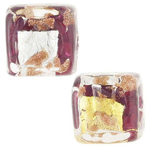 Murano Glass Bead, Rubino Pink, Cube 10mm with Gold, Silver and Aventurina, 2 Pieces
