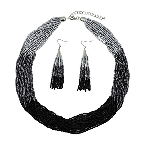 BOCAR Multi Layer Beaded Statement Necklace Set Mix Strand Necklace and earrings for Women Gift (NK-10459-silver+dark gray+mattle ()