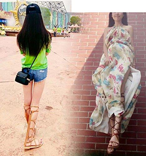 Planas Hueca Grueso Moda Huaishu Cruzadas Para Mujer Abierta Verano Sandalias De Correas Marrón Alta Correa Punta Gama PTqx705
