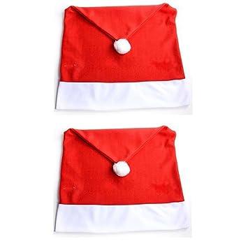 Araus Navidad sombrero 2pc mesa de comedor silla cubre Navidad elfo uniforme calcetines sombreros regalos de fiesta de juego de Papá Noel decoración ...