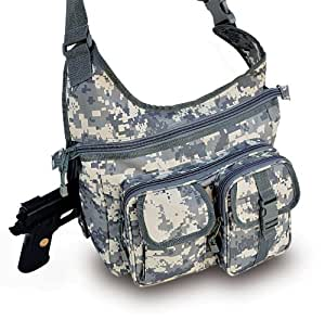 """""""Ultimate Arms Gear ACU Army Digital Camo Camouflage Tactical Shoulder Slip Multi-Functional Heavy Duty Sling Equipment Field Messenger Bag with Adjustable Shoulder Length Straps with Concealed Pistol Gun Holster Compartment, Note Book, Computer Laptop, IPad I Pad & Map Accessories Pockets, Padded Front Pocket for Camera, I Phone IPhone Equipment Shooting Range Hunting Camping Law Enforcement Patrol Gear SB7"""""""