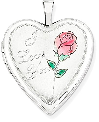 ICE CARATS 14k 20mm White Gold Enamel Rose I Love You Heart Photo Pendant Charm Locket Chain Necklace That Holds Pictures by ICE CARATS