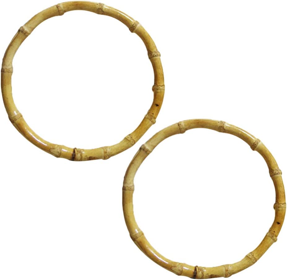 2Pcs Bamboo Handle Purse,4.7In Natural Crafting Handmade for DIY Craft Purse Rings Bags Handbag Making Accessories