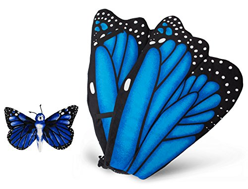 Blue Morpho Butterfly Wings Costume (Wildlife Tree Plush Blue Morpho Butterfly Wings with Baby Plush Toy Blue Butterfly Bundle for Pretend Play Animals Dressup)