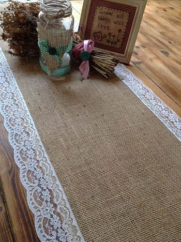 7ft Pretty Hessian And Lace Table Runners Wedding Decor Amazon