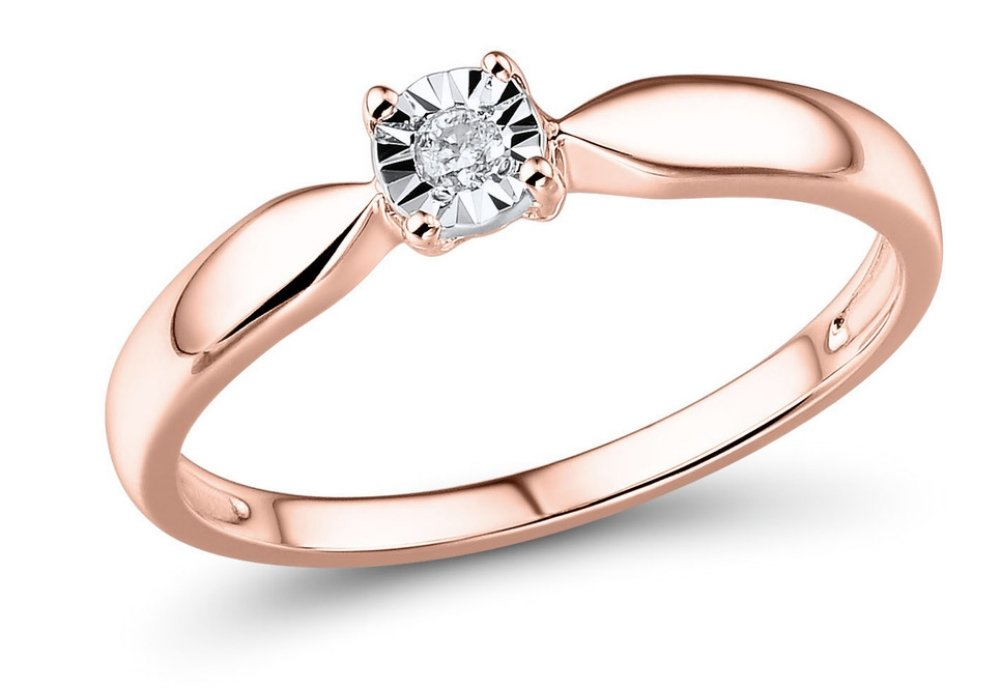 Diamond Ring in 10k Rose Gold 1/10 Carat-Size 8 by Diamond Classic Jewelry