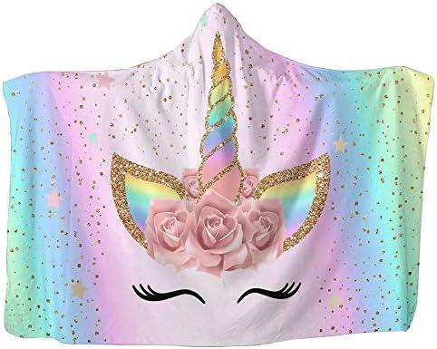 Unicorn Blanket for Girls Hooded, Kids Pink, Purple Wearable Hood Throw Blankets Wrap, Toddlers Plush Soft Kids Blanket Gift Cozy Magic Cloak 59″ by 51″