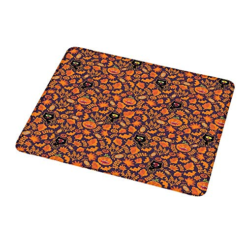 (Custom Mouse Pad Gaming Mat Vintage Halloween,Halloween Themed Elements on a Purple Background Scary Mosters,Dark Purple Orange,Custom Design Gaming Mouse Pad)