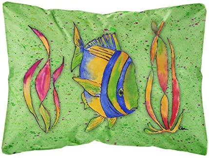 Caroline s Treasures 8568PW1216 Tropical Fish on Green Canvas Fabric Decorative Pillow, 12H x16W, Multicolor