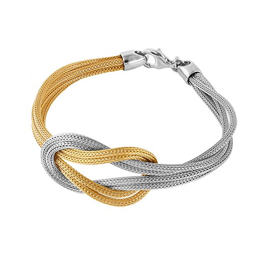 CloseoutWarehouse Gold-Tone Plated Sterling Silver Mesh Infinity Knot Italian Bracelet