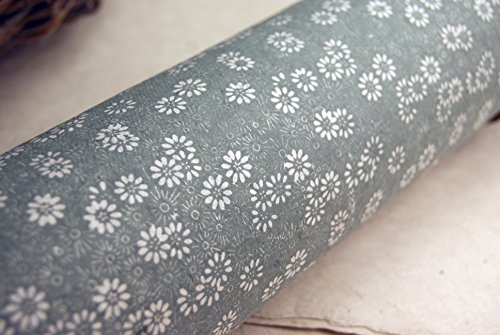 Silver Daisy Flower Pattern Handmade Gift Wrapping Paper 3 Pack