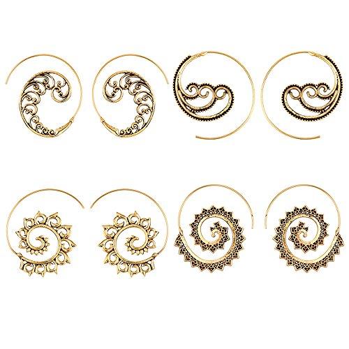 4 Pairs Vintage retro Bohemian Spiral Earring Circles Round Hoop Earrings for women girl nice gift