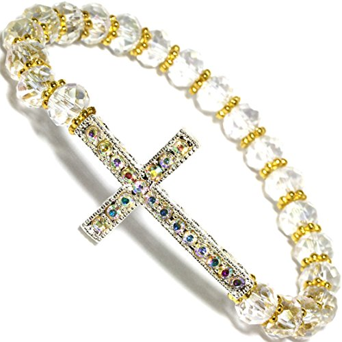 Oval Crystal Cross (AnsonsImages AB Rhinestone Cross Stretch Bracelet Clear Oval Crystal Cut Beads Gold Tone Alloy)