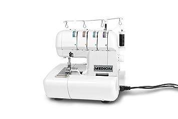 Medion MD 14302 - Máquina de bloqueo remalladora, 90 vatios, lámpara de 15 vatios, 1000 puntadas por minuto, ancho de corte ajustable, color blanco: ...
