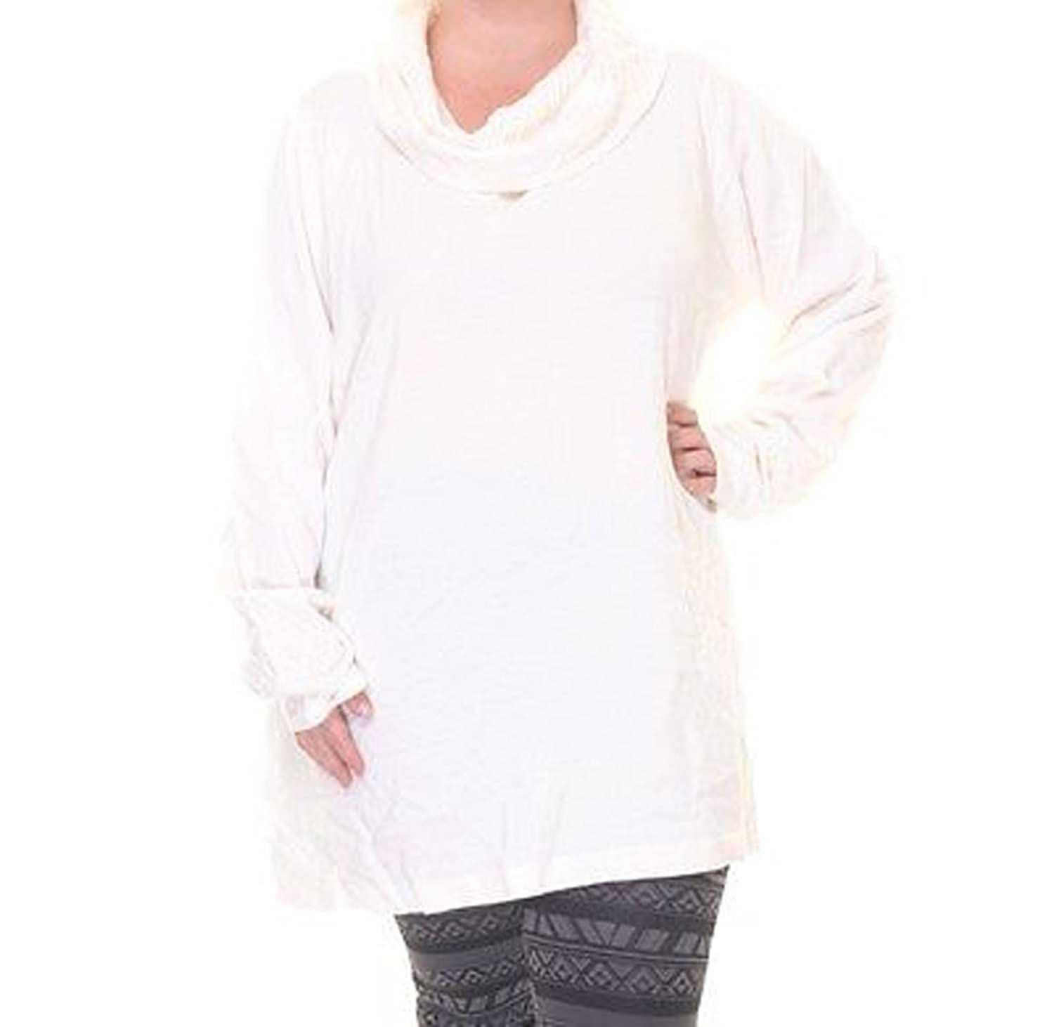 Womens Jm Collection Plus Size 3x Soft Sweater Slouch Neck Top Cream Ivory