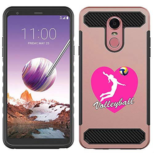 [NickyPrints] LG Stylo 4 Hybrid Case - Heart Volleyball Design Printed with Embossed Effect - Unique Dual Layer Full Protection Shockproof  LG Stylo 4  Rose Gold Case / Cover
