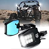 Xprite UTV Rear View Side Mirrors with LED Spot Lights and Smoke Lens fit 1.5-2.5 Inch Roll Bar Cage for Polaris RZR XP 1000, ATV, UTV, Side by Side, CAN-AM Maverick X3, Teryx, Yamaha