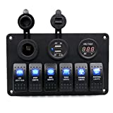 Koolee Digital Voltmeter Waterproof 12V 24V Cigarette Aluminum 6 Gang Rocker Switch Panel Double USB Power Charger Adapter Black For Car Boat