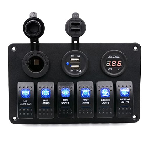Koolee Digital Voltmeter 12V 24V System Power Socket Aluminum 6 Gang Switch Panel Black For Car Boat (Green Honda Stickers compare prices)