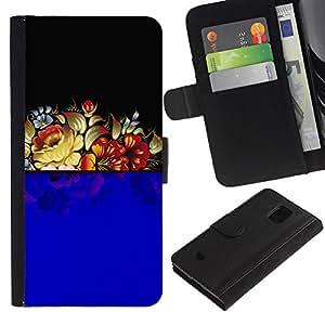 Samsung Galaxy S5 Mini / SM-G800 (Not For S5!!!) , la tarjeta de Crédito Slots PU Funda de cuero Monedero caso cubierta de piel ( Blue Floral Arrangement Black Retro Vintage)