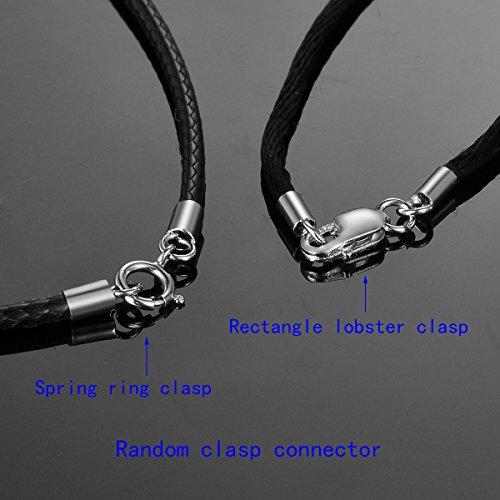 HooAMI Bijoux Collier Chaine Avec S925 Argent Fermoir - Couleur Noir Argent Homme