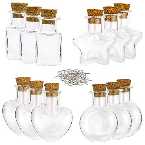 (SUPERLELE 32pcs 10ml 4 Shapes Mini Glass Jars Bottles with Cork Stopper, 32pcs Eye Screws )