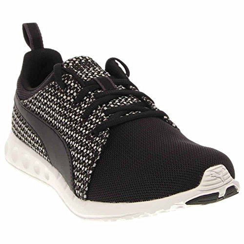 Puma Heren Carson Runner Gebreide Vetersluiting Fashion Sneaker Zwart / Ster Wit