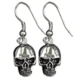 """All Products : Hot Leathers Women's Stainless Steel Skull Earrings (Silver, Size 1"""")"""