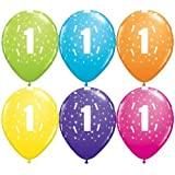 """Age 1/1st Birthday Tropical Assorted Qualatex 11"""" Latex Balloons x 5"""