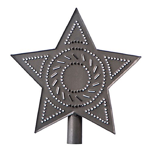 Irvin's Country Tinware Star Tree Topper in Blackened Tin Finish (Gray)