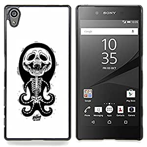 - Octopus White Black Funny Skull Skeleton - - Snap-On Rugged Hard Cover Case Funny HouseFOR Sony Xperia Z5 5.2 Inch Smartphone