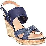 Alfani Women's Pursue Platform Wedge Navy Sandals 10 M