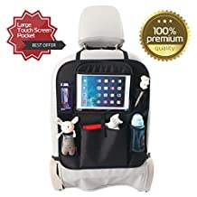 Luxury Car Back Seat Organizer with iPad/Tablet Holder, Large Touch Screen Pocket, Multifunctional Organizer - 5 Pockets, Back Seat Protector, Car Organizer for Kids & Travel Accessories