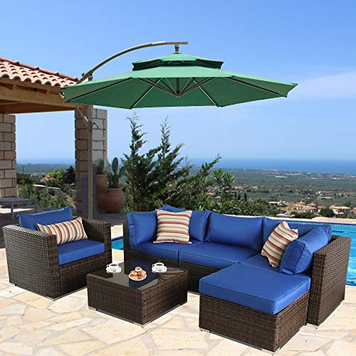 Outime Patio Furniture Sofa 6pcs Brown Rattan Wicker Couch Set Garden Sectional Home Furniture w/Coffee Table Royal Blue Cushion from Outime