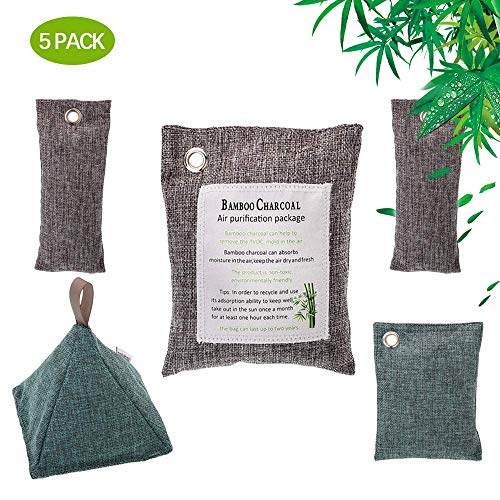 zerkar Bamboo Air Purifying Bag Bamboo Activated Charcoal Air Freshener Deodorizer and Odor Eliminator,100% Natural Chemical-Free,Activated Charcoal Odor Absorber for Cars, Shoes, Home