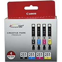 Canon CLI-251 BK/CMY 4 PK Value Pack Ink for Canon InkJet Printers (Original New Version - Limited Edition)