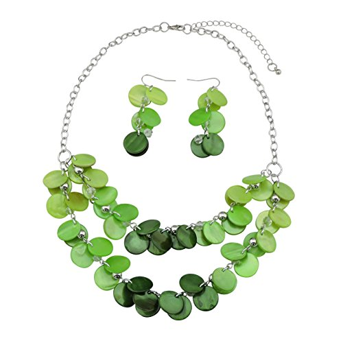 Bocar 2 Layer Statement Choker Shell Necklace and Earring Set for Women Gift - Casual Necklace Green