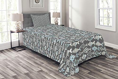 Ambesonne Fish Bedspread, Abstract Fishing Theme with Watercolor Style Silhouette Species of Fish, Decorative Quilted 2 Piece Coverlet Set with Pillow Sham, Twin Size, Baby Blue