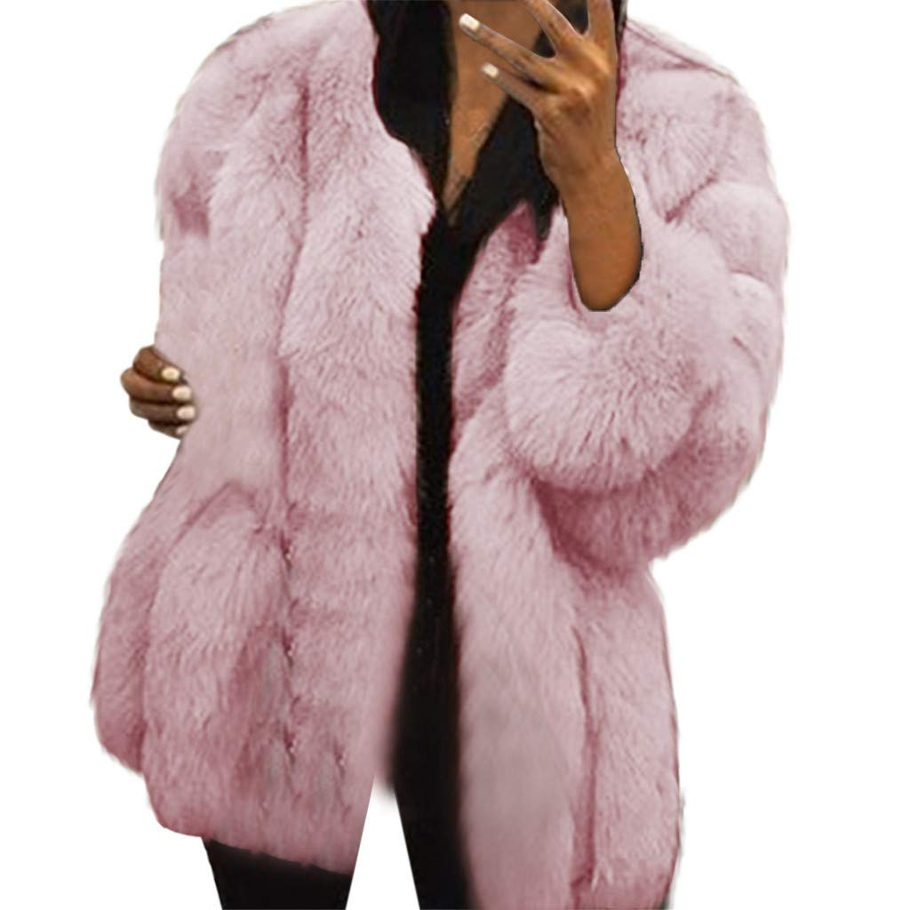 IEason Women Coat Fashion Short Faux Coat Warm Furry Jacket Long Sleeve Outerwear Plus Size Pink by IEason Women Coat