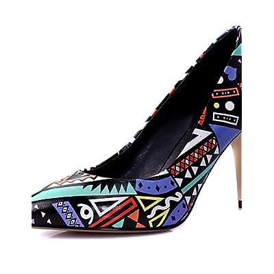 Ggx/femme Chaussures de vachette d'été/automne talons/Bout Pointu talons Bureau & carrière/décontracté Stiletto Talon Fleur Bleu/jaune
