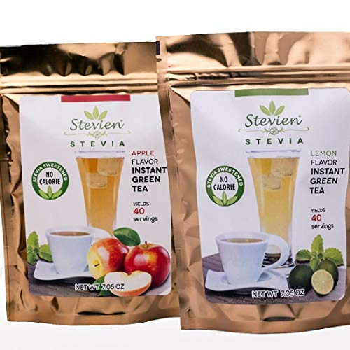 - Stevien Green Tea Powder Sugar Free and Gluten Free Natural Apple And Lemon Flavors | Lightly Sweetened With Organic Stevia | Vegan And Nut Free | Keto Paleo And Diabetic Friendly