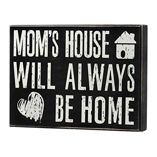 JennyGems - Mom's House Will Always Be Home - Wooden Mom Quote Saying Box Sign - Sentimental Gift - Mom Sign - Presents for Mom - Mom Gifts for Mom and Grandma - Meaningful Mom Plaque (Gifts Christmas Quotes)