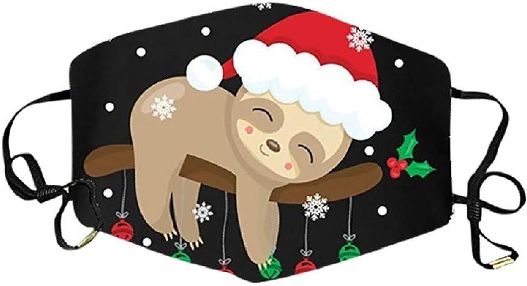 5,M Mundschutz mit Motiv Weihnachten Faultier Sloth Lama Cartoon 3D Lustig Motive Mund Nasenschutz Waschbar Damen Herren Kinder Jungen M/ädchen Christmas Bunt Multifunktionstuch Bandana Halstuch