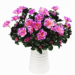 Mynse 2 Bunches Fake Flowers Bouquet for Home Garden Outdoor Decoration Artificial Flowers Azalea Bouquet Purple 36