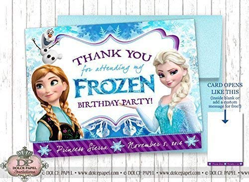 10 Frozen Inspired Elsa Anna Olaf Snowflake Birthday Party Thank You Cards Specialty Folding Card -