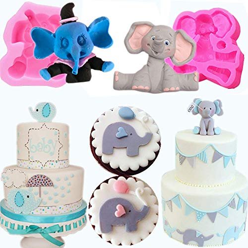 Mujiang 3D Elephant Fondant Silicone Mold Elephant Cake Decoration Mold (Best Store Bought Fondant)