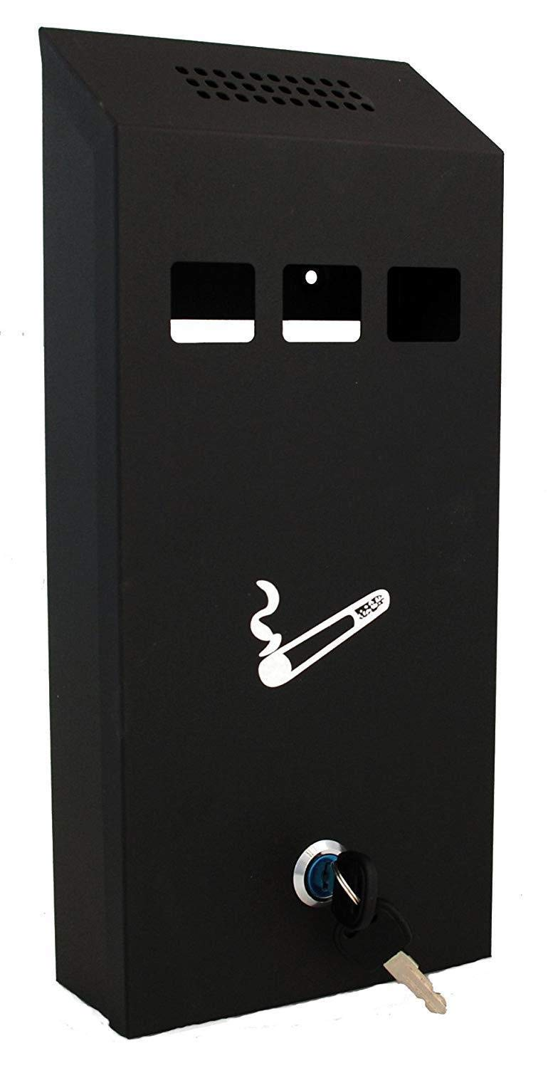 Quality Wall Mounted Lockable Outdoor Metal Ashtray - Black